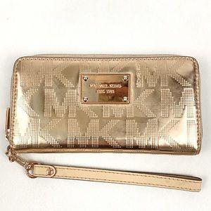 MICHAEL KORS Rose Gold Mirror Metallic Wallet